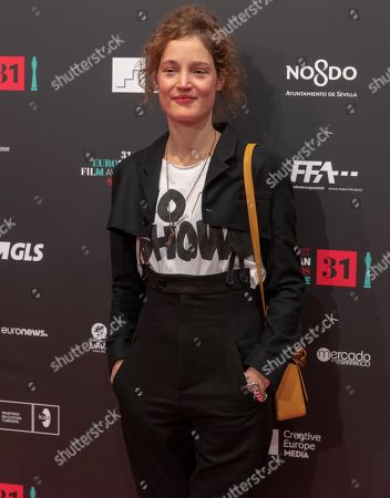 Luxembourgish Actress Vicky Krieps poses for the photographers on the red carpet of European Film Festival at Teatro de la Maestranza in Sevilla, Andalusia, Spain, 15 December 2018.
