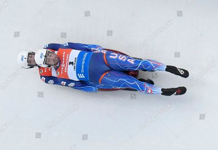 Chris Mazdzer and Jayson Terdiman, of the United States, compete in the men's double luge World Cup event, in Lake Placid, N.Y