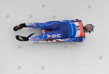 Chris Mazdzer, of the United States, competes in the men's luge World Cup event, in Lake Placid, N.Y