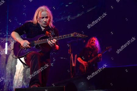 Stock Picture of Guitarist Emppu Vuorinen (L) and Uilleann pipes player / multi-instrumentalist Troy Donockley of the Finnish symphonic metal band Nightwish performs on stage during their Decades: World Tour 2018 concert