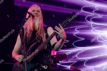 Bassist / singer Marco Hietala of the Finnish symphonic metal band Nightwish performs on stage during their Decades: World Tour 2018 concert