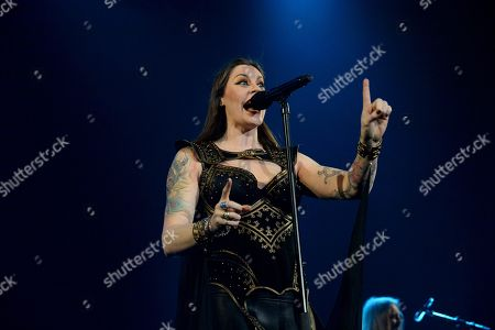 Stock Photo of Lead singer Floor Jansen of the Finnish symphonic metal band Nightwish performs on stage during their Decades: World Tour 2018 concert
