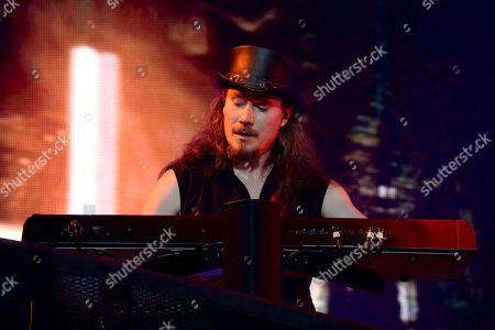 Stock Photo of Keyboardist Tuomas Holopainen of the Finnish symphonic metal band Nightwish performs on stage during their Decades: World Tour 2018 concert
