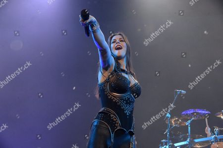 Lead singer Floor Jansen of the Finnish symphonic metal band Nightwish performs on stage during their Decades: World Tour 2018 concert