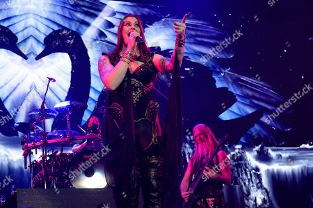 Stock Picture of Lead singer Floor Jansen of the Finnish symphonic metal band Nightwish performs on stage during their Decades: World Tour 2018 concert