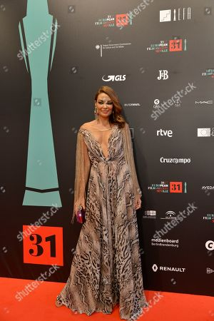 Spanish actress Lucia Hoyos pose at the red carpet during the European Film Awards in Seville, Spain, on