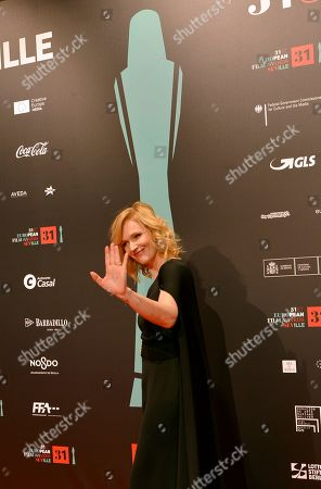 Stock Photo of Actress Anna Geislerova poses at the red carpet during the European Film Awards in Seville, Spain, on