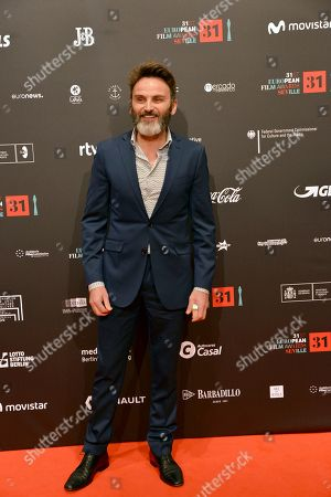 Spanish actor Fernando Tejero poses at the red carpet during the European Film Awards in Seville, Spain, on