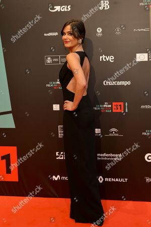 TV Spanish show Elena Sanchez poses at the red carpet during the European Film Awards in Seville, Spain, on