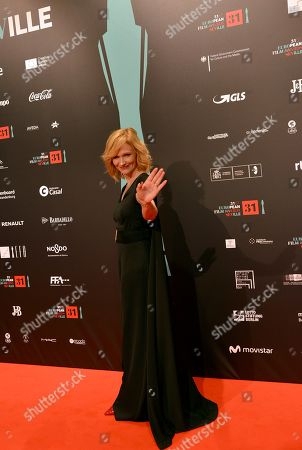 Stock Image of Actress Anna Geislerova poses at the red carpet during the European Film Awards in Seville, Spain, on