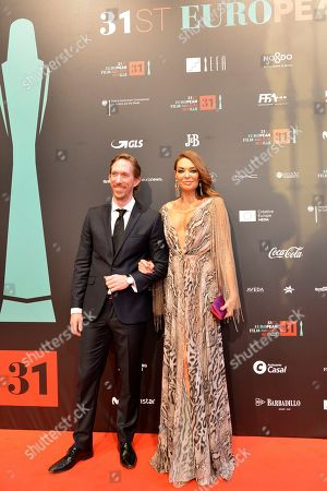 Stock Photo of American actor Ken appledorn and Spanish actress Lucia Hoyos pose at the red carpet during the European Film Awards in Seville, Spain, on