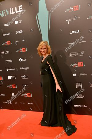 Actress Anna Geislerova poses at the red carpet during the European Film Awards in Seville, Spain, on
