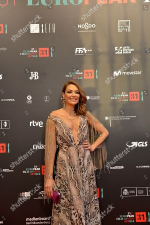 Stock Image of Spanish actress Lucia Hoyos pose at the red carpet during the European Film Awards in Seville, Spain, on