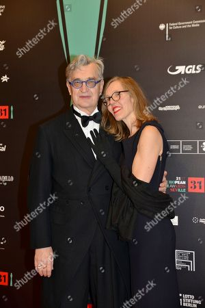 EFA President Wim Wenders and his wife Donata Wenders poses at the red carpet during the European Film Awards in Seville, Spain, on