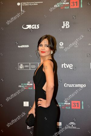 Elena Sanchez poses on the red carpet during the European Film Awards in Seville, Spain, on