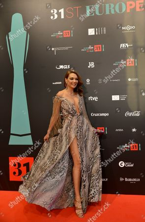 Spanish actress Lucia Hoyos poses on the red carpet during the European Film Awards in Seville, Spain, on