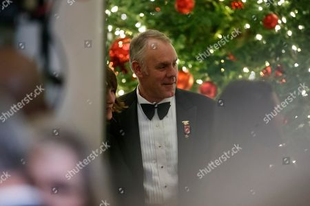 Stock Photo of Secretary of the Interior Ryan Zinke attends the Congressional Ball in the Grand Foyer of the White House in Washington