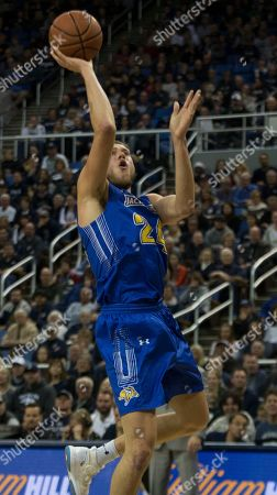 South Dakota State forward Mike Daum (24) shoots against Nevada in the second half of an NCAA college basketball game in Reno, Nev