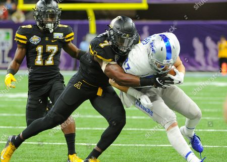 Appalachian State defensive back, Josh Thomas (7), in action during the New Orleans Bowl between the Middle Tennessee Blue Raiders and the Appalachian State Mountaineers at Mercedes-Benz Superdome in New Orleans, LA . Appalachian State defeated Middle Tennessee, 45-13