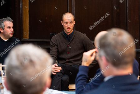 Brede Hangeland attends a pre match questions and answer session at Fulham Palace