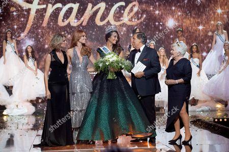 Sylvie Tellier, Maeva Coucke, Vaimalama Chaves (Miss Tahiti), Jean-Pierre Foucault at Line Renaud.