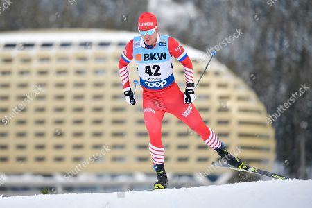 Andrey Melnichenko of Russia in action during the Men's 15 km free style race at the Davos Nordic FIS Cross Country World Cup in Davos, Switzerland, 16 December 2018.