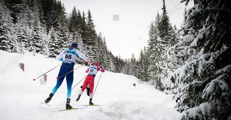 Dario Cologna (L) of Switzerland chases  Andrey Melnichenko of Russia during the Men's 15 km free style race at the Davos Nordic FIS Cross Country World Cup in Davos, Switzerland, 16 December 2018.