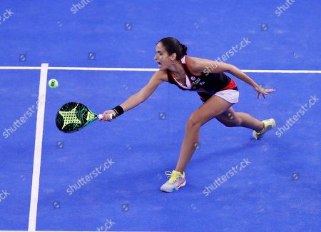 Maria Jose Alayeto in action during the final match against Marta Marrero and Alejandra Salazar at the Estrella Damm Master Final of the World Padel Tour tournamentin Madrid, Spain, 15 December 2018.