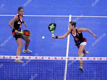 Sisters Maria Jose and Maria Pilar Alayeto in action during the final match against Marta Marrero and Alejandra Salazar at the Estrella Damm Master Final of the World Padel Tour tournamentin Madrid, Spain, 15 December 2018.