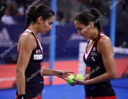 Sisters Maria Jose and Maria Pilar Alayeto chat during the final match against Marta Marrero and Alejandra Salazar at the Estrella Damm Master Final of the World Padel Tour tournamentin Madrid, Spain, 15 December 2018.