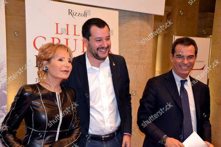 Matteo Salvini, Lilli Gruber and Giovanni Floris