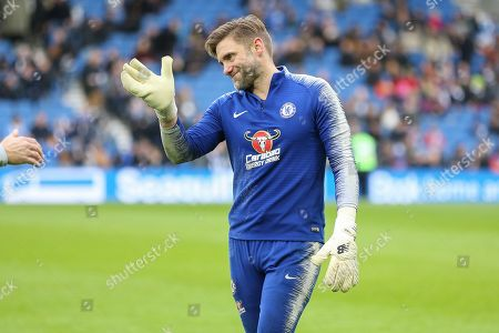 Rob Robert Green gestures in warm up during the Premier League match between Brighton and Hove Albion and Chelsea at the American Express Community Stadium, Brighton and Hove