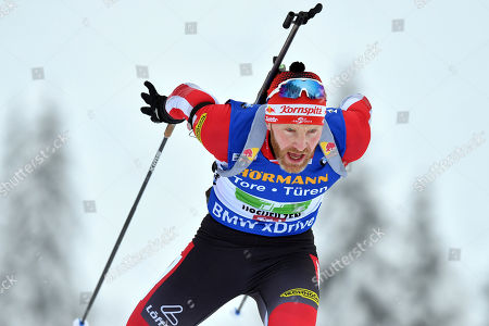 Austria's Simon Eder competes during the men's 4x7,5 km relay competition at the Biathlon World Cup in Hochfilzen, Austrian province of Tyrol, Austria