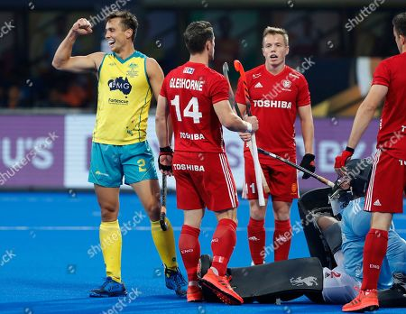 Australia's Tom Craig, left, celebrates after scoring a goal during the Men's Hockey World Cup bronze medal match between Australia and England at Kalinga Stadium in Bhubaneswar, India