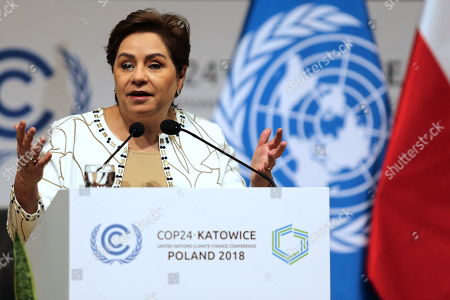 Stock Picture of UNFCCC (United Nations Framework Convention on Climate Change) executive secretary Patricia Espinosa during a press conference summing up the COP24 Climate Summit in Katowice, 16 December 2018. The COP (Conference of the Parties) summit is the highest body of the UN Framework Convention on Climate Change (UNFCC). Expected at the meeting are close to 30,000 delegates from all over the world, including government leaders and ministers responsible for environmental policy.