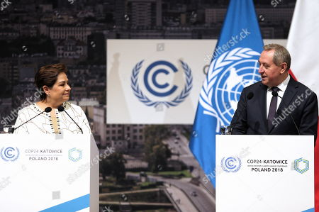 UNFCCC (United Nations Framework Convention on Climate Change) executive secretary Patricia Espinosa (L) and Poland's environment minister Henryk Kowalczyk (R) during a press conference summing up the COP24 Climate Summit in Katowice, 16 December 2018. The COP (Conference of the Parties) summit is the highest body of the UN Framework Convention on Climate Change (UNFCC). Expected at the meeting are close to 30,000 delegates from all over the world, including government leaders and ministers responsible for environmental policy.