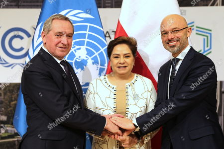 Stock Image of UNFCCC (United Nations Framework Convention on Climate Change) executive secretary Patricia Espinosa (C), Poland's environment minister Henryk Kowalczyk (L) and president of COP24, deputy minister of environment Michal Kurtyka (R) during a press conference summing up the COP24 Climate Summit in Katowice, 16 December 2018. The COP (Conference of the Parties) summit is the highest body of the UN Framework Convention on Climate Change (UNFCC). Expected at the meeting are close to 30,000 delegates from all over the world, including government leaders and ministers responsible for environmental policy.