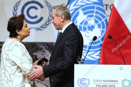 Stock Photo of UNFCCC (United Nations Framework Convention on Climate Change) executive secretary Patricia Espinosa (L) and Poland's environment minister Henryk Kowalczyk (R) during a press conference summing up the COP24 Climate Summit in Katowice, 16 December 2018. The COP (Conference of the Parties) summit is the highest body of the UN Framework Convention on Climate Change (UNFCC). Expected at the meeting are close to 30,000 delegates from all over the world, including government leaders and ministers responsible for environmental policy.