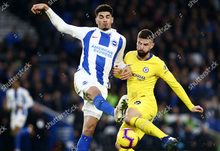Olivier Giroud of Chelsea and Leon Balogun of Brighton & Hove Albion.