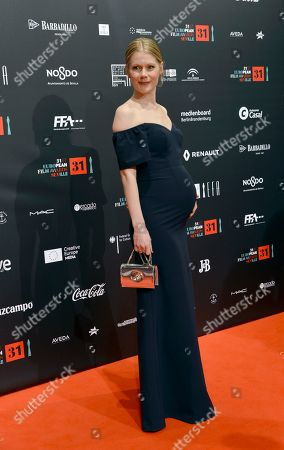 EFA presenter Hanna Alstrom poses at the red carpet during the European Film Awards in Seville, Spain