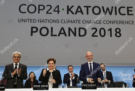 COP24 (United Nations Framework Convention on Climate Change) President, Deputy Environment Minister Michal Kurtyka (R), UNFCCC (United Nations Framework Convention on Climate Change) executive secretary Patricia Espinosa (C) and the deputy UN Secretary of State for Climate Change, Ovais Sarmad (L) during the official closing ceremony of the COP24 UN Climate Summit in Katowice, Poland, 15 December 2018 (issued 16 December 2018). The COP (Conference of the Parties) summit is the highest body of the UN Framework Convention on Climate Change (UNFCC). Expected at the meeting are close to 30,000 delegates from all over the world, including government leaders and ministers responsible for environmental policy.