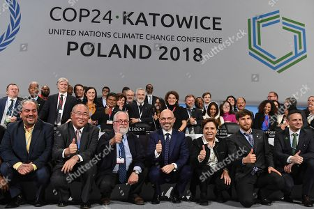 COP24 (United Nations Framework Convention on Climate Change) President, Deputy Environment Minister Michael Kurtyka (4-L), UNFCCC (United Nations Framework Convention on Climate Change) executive secretary Patricia Espinosa (3-R) and participants of the summit during the official closing ceremony of the COP24 UN Climate Summit in Katowice, Poland, 15 December 2018 (issued 16 December 2018). The COP (Conference of the Parties) summit is the highest body of the UN Framework Convention on Climate Change (UNFCC). Expected at the meeting are close to 30,000 delegates from all over the world, including government leaders and ministers responsible for environmental policy.