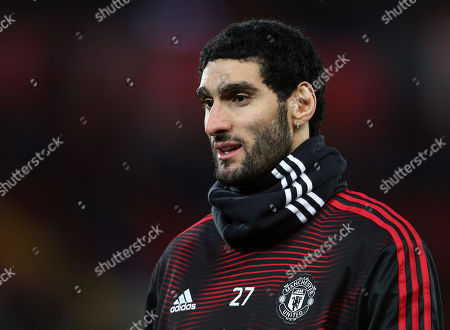 Marouane Fellaini of Manchester United wearing a snood