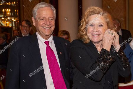 Liv Ullmann (R) and her husband Donald Saunders (L) attend Ullmann's 80th birthday celebrations in Oslo, Norway, 16 December 2018.