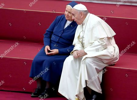 Pope Francis meets Sister Antonietta Collacchi, Daughter of Charity of St. Vincent de Paul, director of the 'Santa Marta' Dispensary.