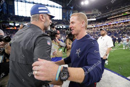 Indianapolis Colts head coach Frank Reich talks with Dallas Cowboys head coach Jason Garrett following an NFL football game, in Indianapolis. Indianapolis won 23-0