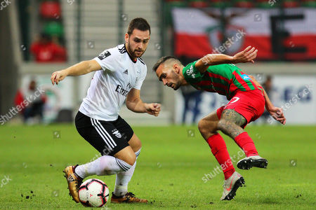 Maritimo's Ruben Ferreira (R) in action against Benfica's Andrija Zivkovic (L) during the Portuguese First League soccer match between Maritimo Funchal and Benfica Lisbon in Funchal, Madeira island, Portugal, 16 December 2018.