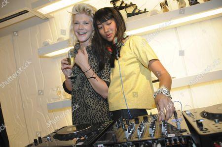 Micky Green aka Michaela Gehrmann and DJ at the Chloe shop