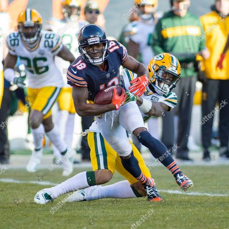 Chicago, Illinois, U.S. - Bears #18 Taylor Gabriel and Packers #37 Josh Jackson in action during the NFL Game between the Green Bay Packers and Chicago Bears at Soldier Field in Chicago, IL. Photographer: Mike Wulf