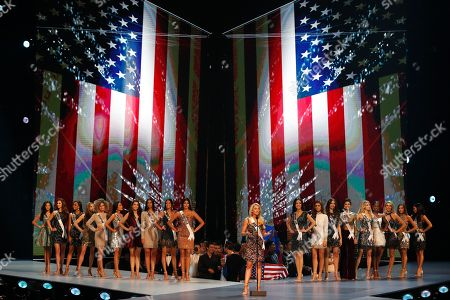 Miss USA Sarah Rose Summers (C) speaks on the stage during the Miss Universe 2018 beauty pageant at Impact Arena in Bangkok, Thailand, 17 December 2018. Women representing 94 nations will participate in the 67th Miss Universe 2018 beauty pageant in Bangkok.